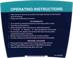 Picture of Operating instructions decal